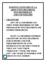 positive attitudes in aa about psychiatrists psychotherapy and counselors