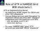 role of gt4 in naregi grid mw stack beta 1