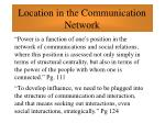location in the communication network