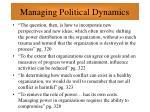 managing political dynamics