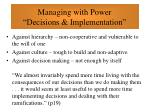 managing with power decisions implementation38