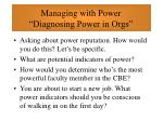 managing with power diagnosing power in orgs51