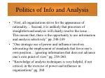 politics of info and analysis