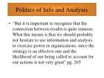 politics of info and analysis79