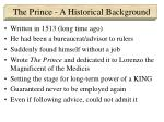 the prince a historical background