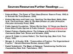sources resources further readings cont