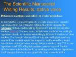the scientific manuscript writing results active voice134