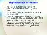 projections of ipcc for south asia