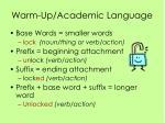 warm up academic language
