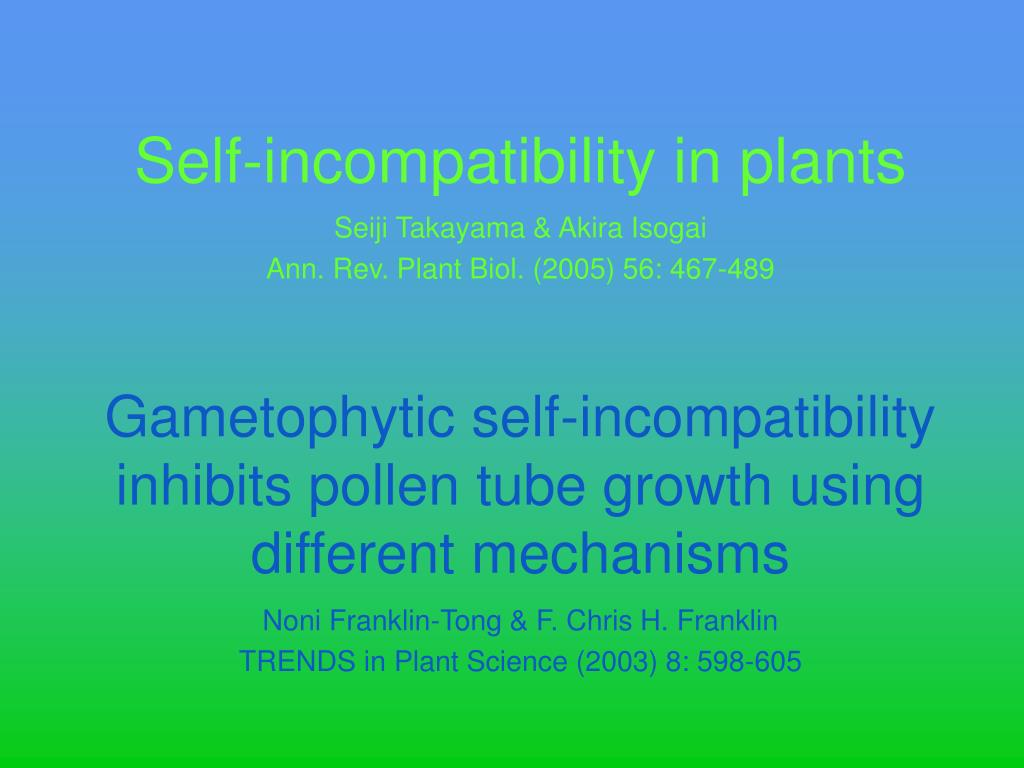 self incompatibility in plants l.