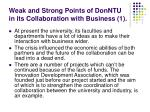 weak and strong points of donntu in its collaboration with business 1