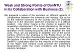 weak and strong points of donntu in its collaboration with business 2
