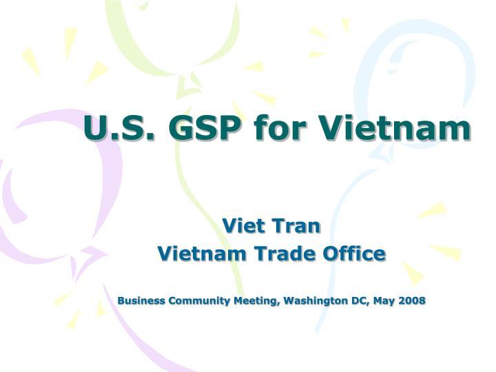 u s gsp for vietnam n.