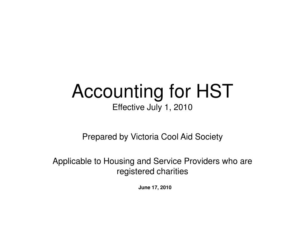 accounting for hst effective july 1 2010 l.