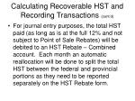 calculating recoverable hst and recording transactions cont d11