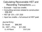 calculating recoverable hst and recording transactions cont d17