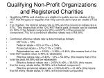 qualifying non profit organizations and registered charities