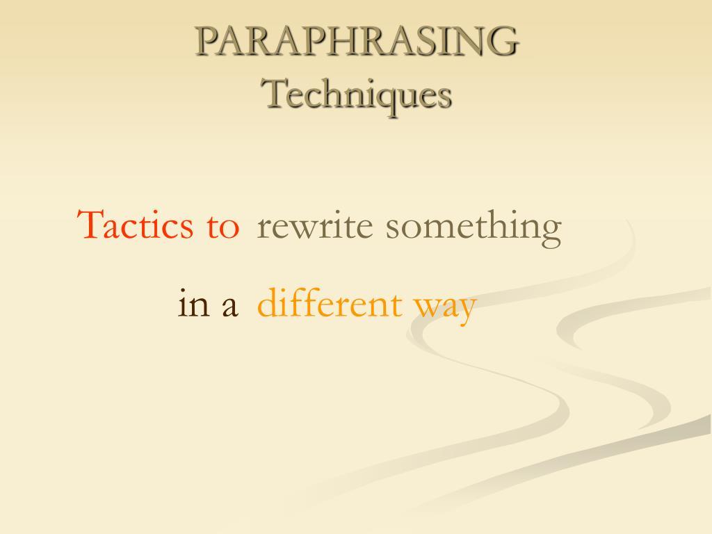 paraphrasing techniques l.