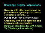 challenge regime aspirations