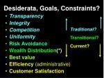 desiderata goals constraints