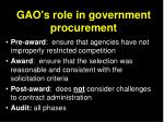 gao s role in government procurement