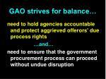 gao strives for balance