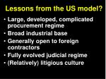 lessons from the us model