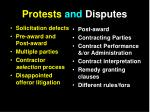protests and disputes