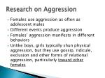 research on aggression