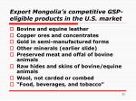export mongolia s competitive gsp eligible products in the u s market