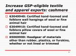 increase gsp eligible textile and apparel exports cashmere14