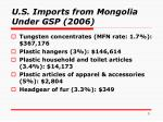 u s imports from mongolia under gsp 2006