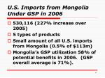 u s imports from mongolia under gsp in 2006