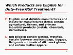 which products are eligible for duty free gsp treatment