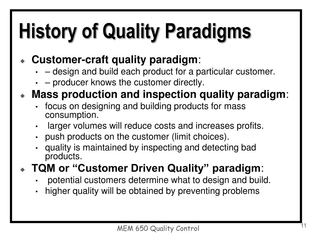 History of Quality Paradigms