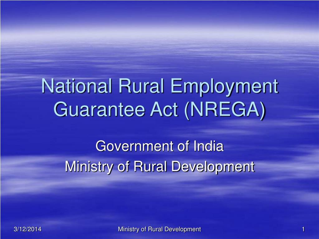 national rural employment guarantee act nrega l.