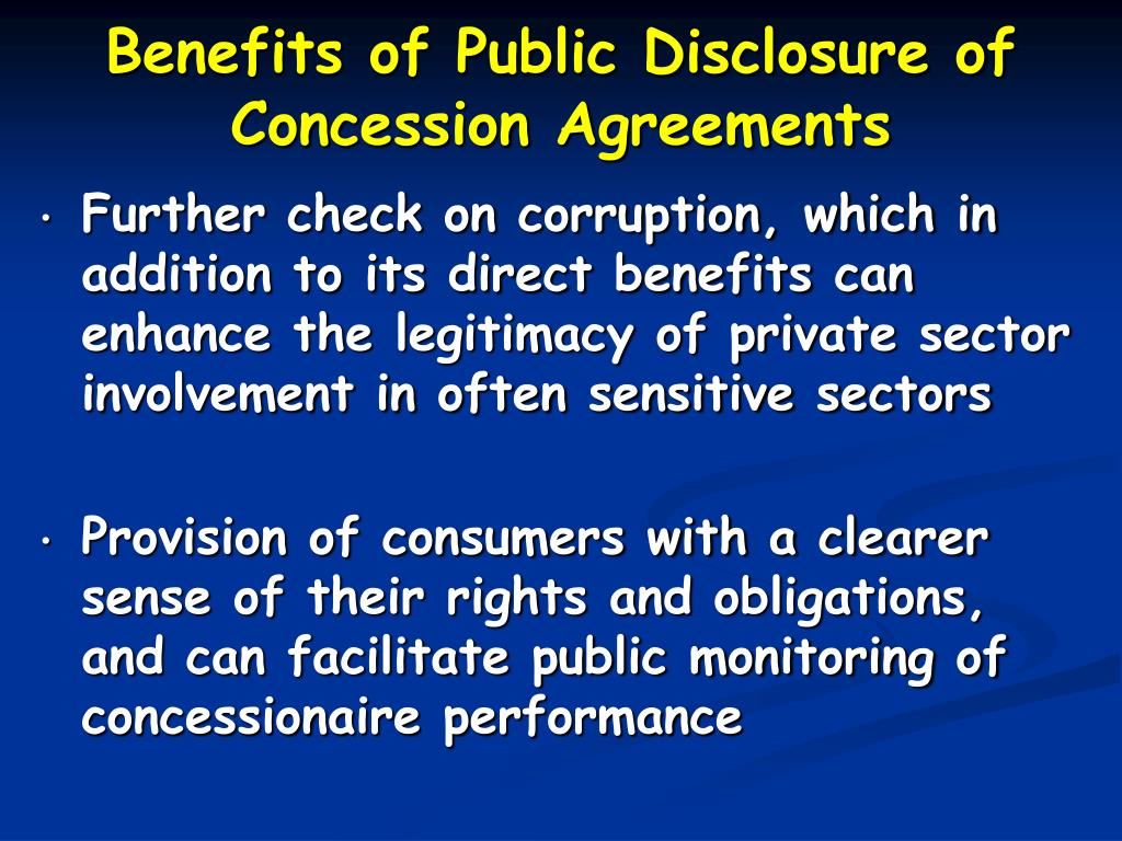 Benefits of Public Disclosure of Concession Agreements
