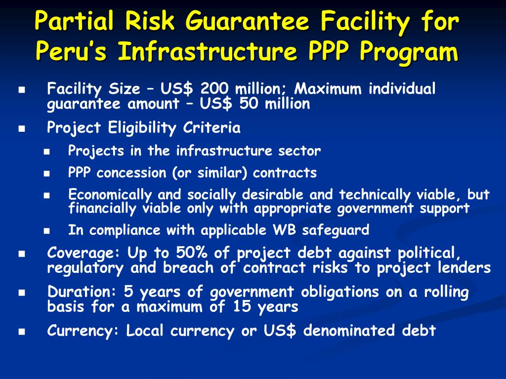 Partial Risk Guarantee Facility for Peru's Infrastructure PPP Program