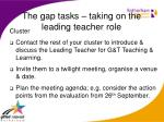 the gap tasks taking on the leading teacher role