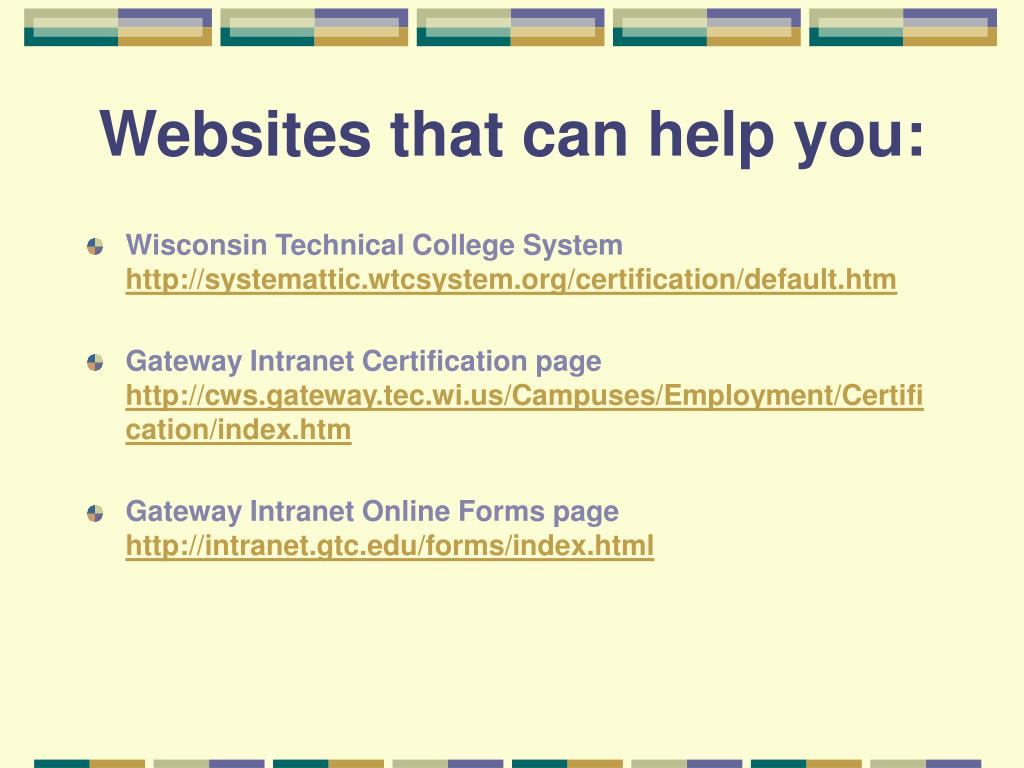 Websites that can help you:
