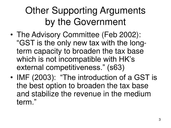 Other supporting arguments by the government