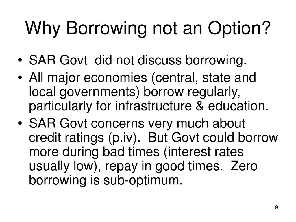 Why Borrowing not an Option?