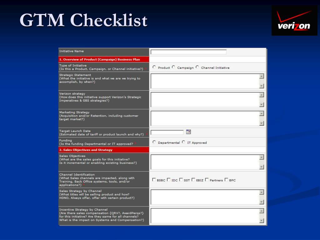 GTM Checklist
