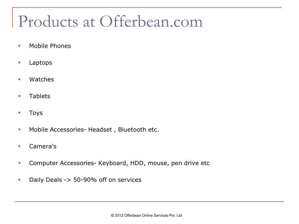 Products at Offerbean.com