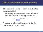 client puzzles based on hash functions