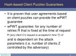 hash based client puzzles guarantees