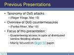previous presentations