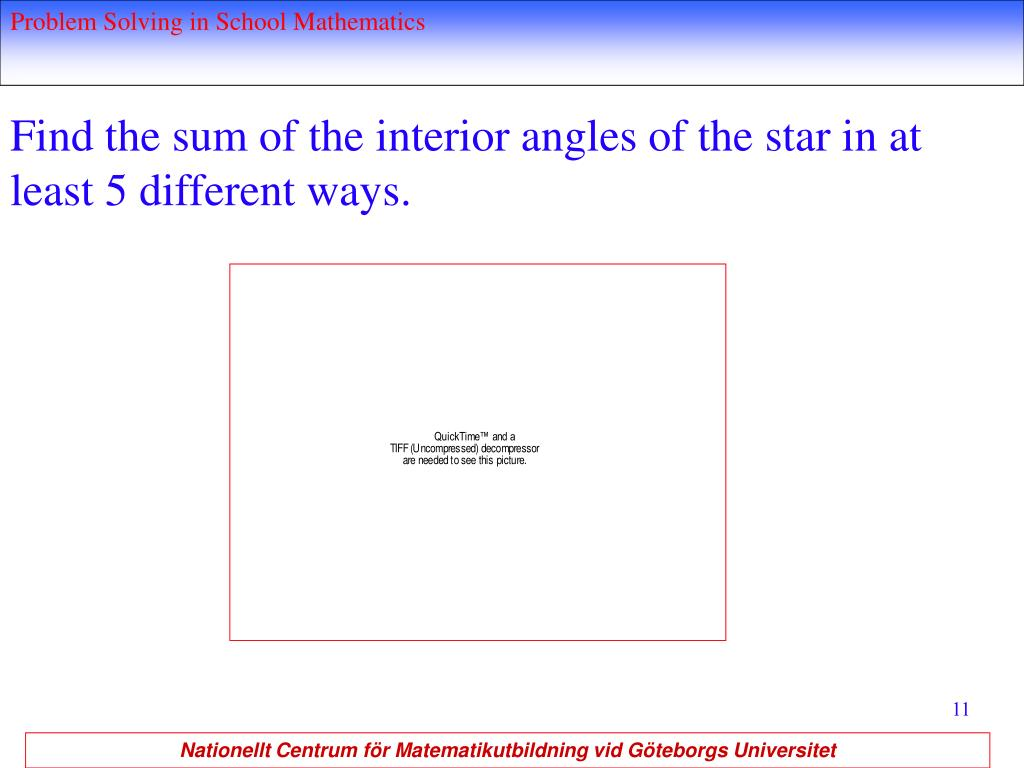 Find the sum of the interior angles of the star in at least 5 different ways.
