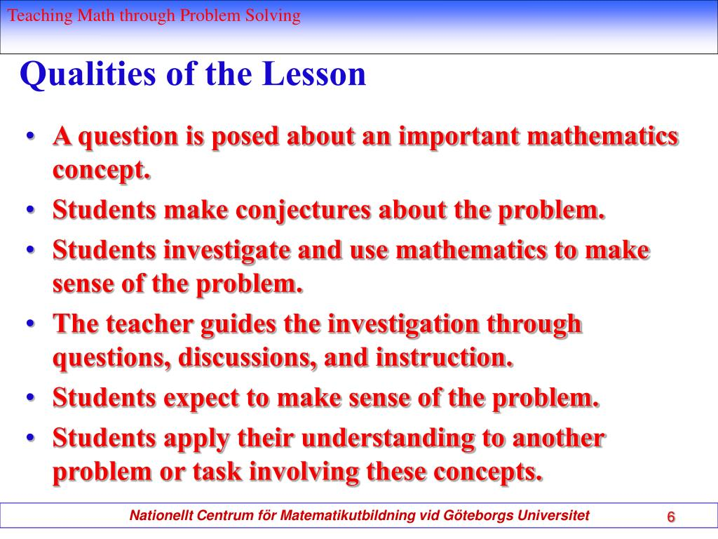 Qualities of the Lesson