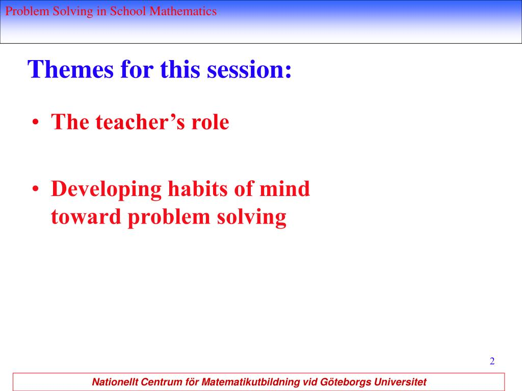 Themes for this session: